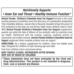 Animal Parade Children's Chewable Inner Ear Support Supplement Label