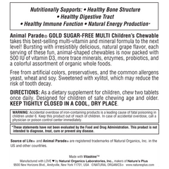 Animal Parade GOLD Grape Chewable Multi Supplement Label