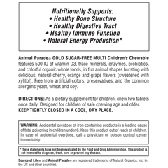 Animal Parade® GOLD Children's Chewable Multi - Assorted Flavors Supplement Label