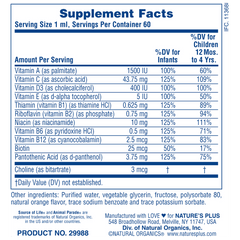 Animal Parade Baby Plex Supplement Facts