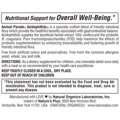 AcidophiKidz Supplement Label
