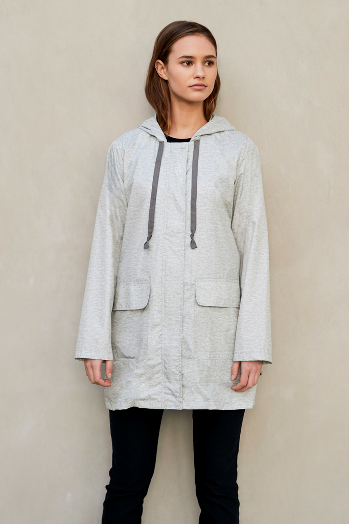 WOMENS '3/4 JACKET' RAINCOAT IN GREY MARLE