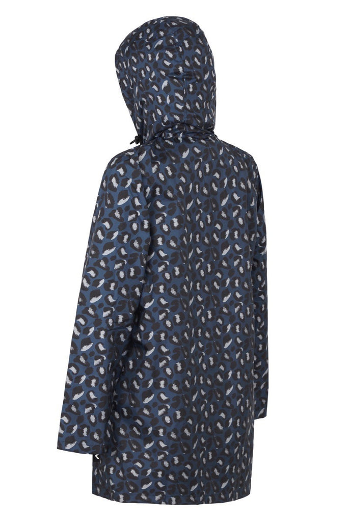 WOMENS '3/4 JACKET' RAINCOAT IN GEO BLUE