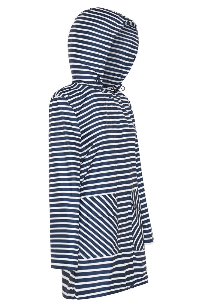 WOMENS 'RECYCLED' 3/4 RAINCOAT IN NAVY STRIPE