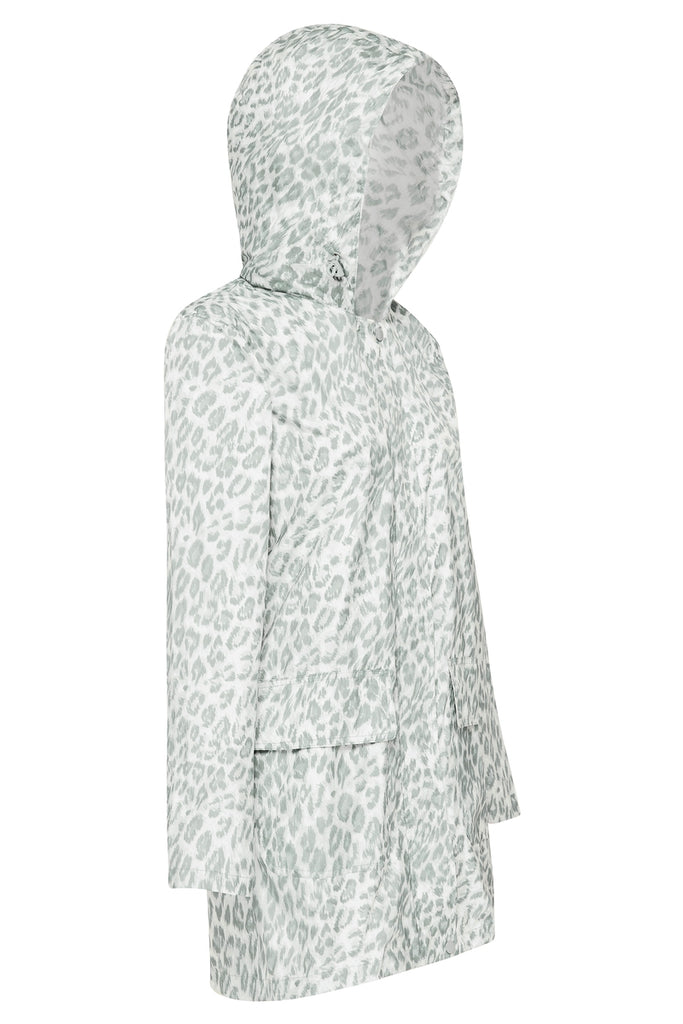 WOMENS '3/4 JACKET' RECYCLED RAINCOAT IN LEOPARD SMUDGE | PAQME