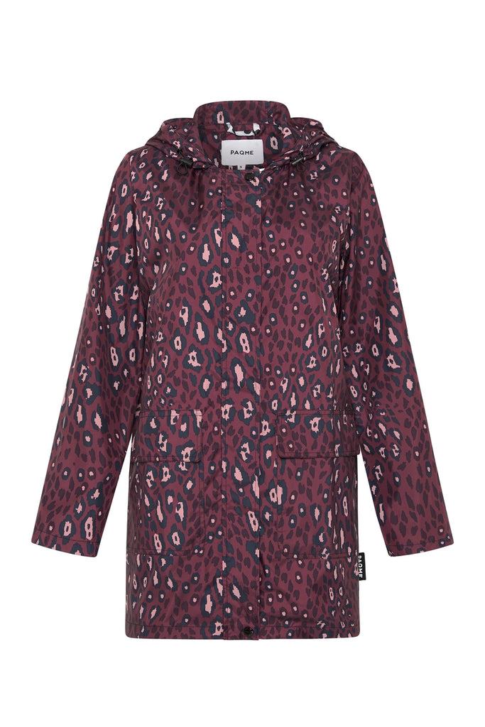 WOMENS '3/4 JACKET' RAINCOAT IN PINK LEOPARD