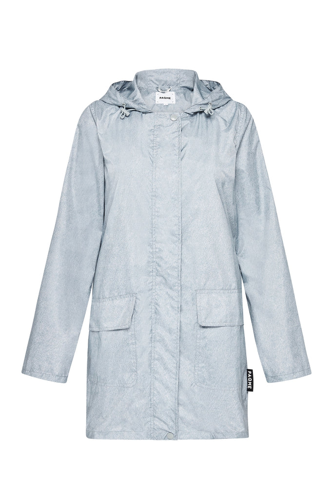 WOMENS '3/4 JACKET' RECYCLED RAINCOAT IN DENIM | PAQME