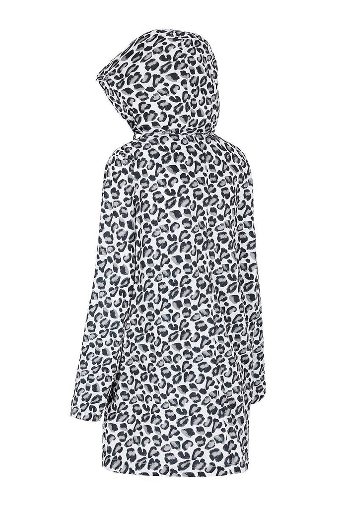 WOMENS '3/4 JACKET' RAINCOAT IN GEO LEOPARD
