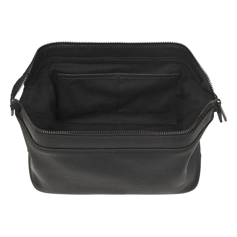 FINE LEATHER TRAVEL TOILETRY BAG IN BLACK