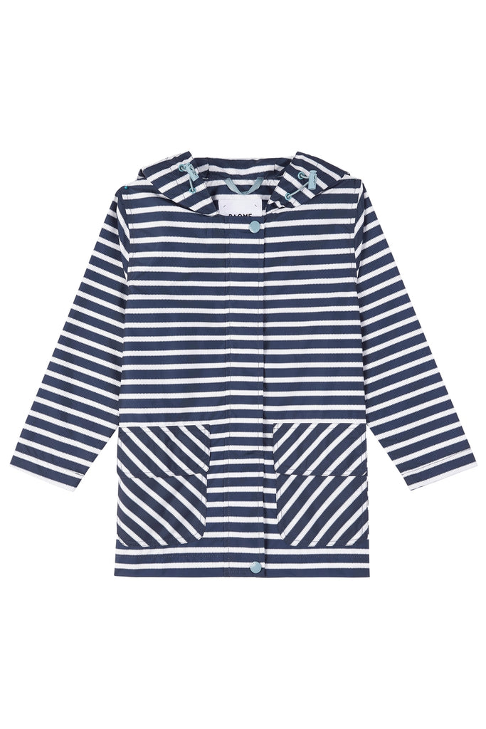 KIDS 'RECYCLED' 3/4 RAINCOAT IN NAVY STRIPE