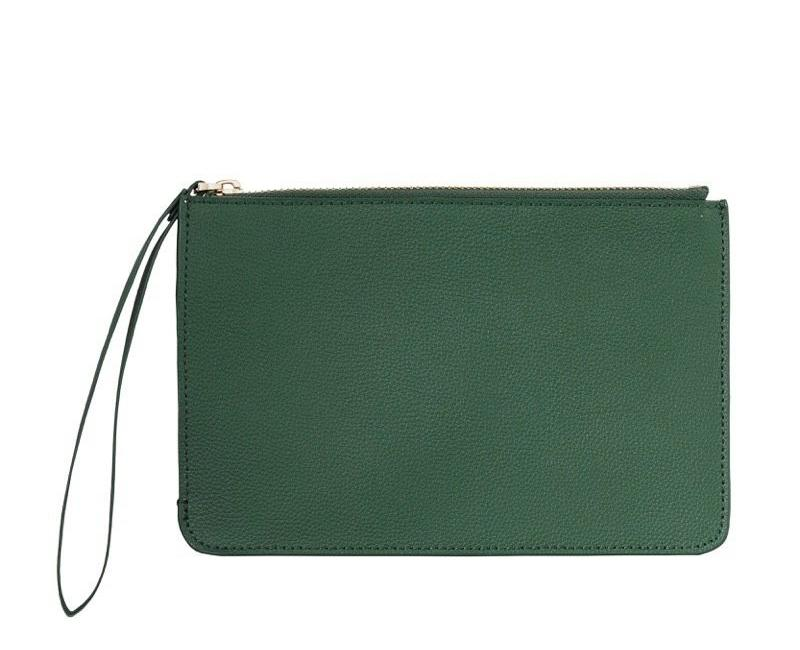 WOMENS FINE LEATHER CLUTCH IN EMERALD