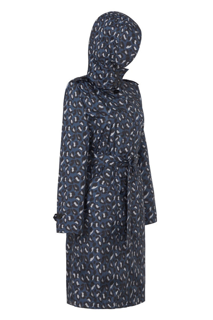 WOMENS 'TRENCH' RAINCOAT IN GEO BLUE