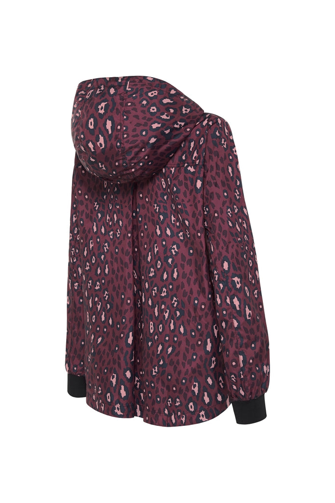 WOMENS 'CROP' RAINCOAT IN PINK LEOPARD