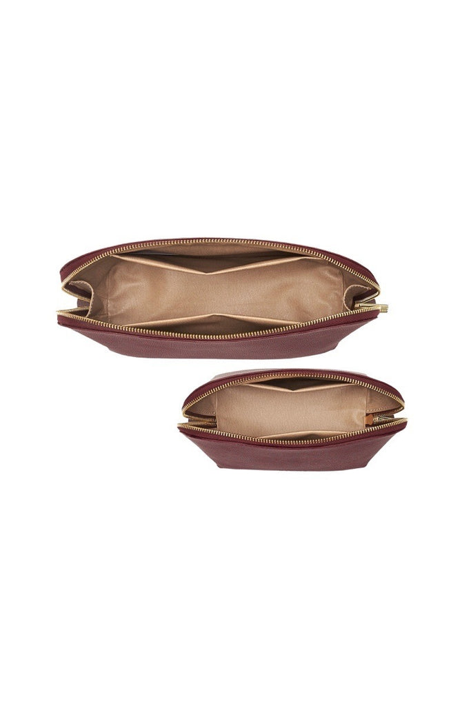 WOMENS FINE LEATHER TRAVEL COSMETIC & MAKEUP CASE SET IN BURGUNDY