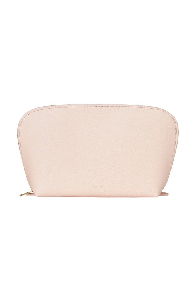 WOMENS FINE LEATHER TRAVEL COSMETIC & MAKEUP CASE IN BLUSH (EXTRA LARGE)