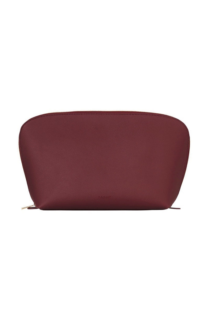 WOMENS FINE LEATHER TRAVEL COSMETIC & MAKEUP CASE IN BURGUNDY (EXTRA LARGE)