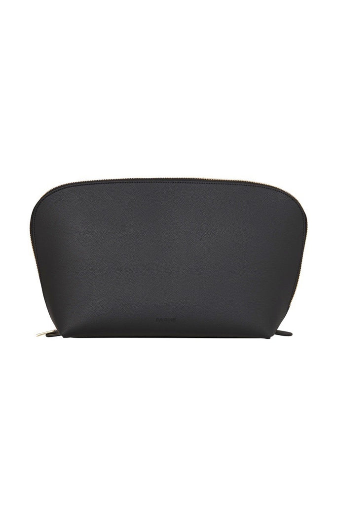 WOMENS FINE LEATHER TRAVEL COSMETIC & MAKEUP CASE IN BLACK (EXTRA LARGE)