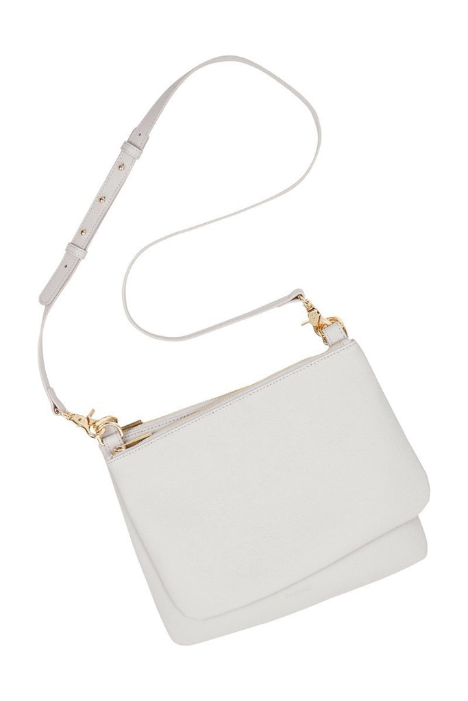 WOMENS FINE LEATHER DUO CROSS BODY BAG IN STORM