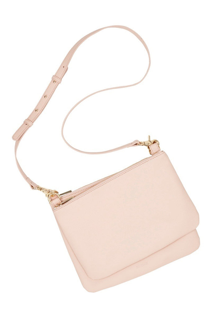 WOMENS FINE LEATHER DUO CROSS BODY BAG IN BLUSH