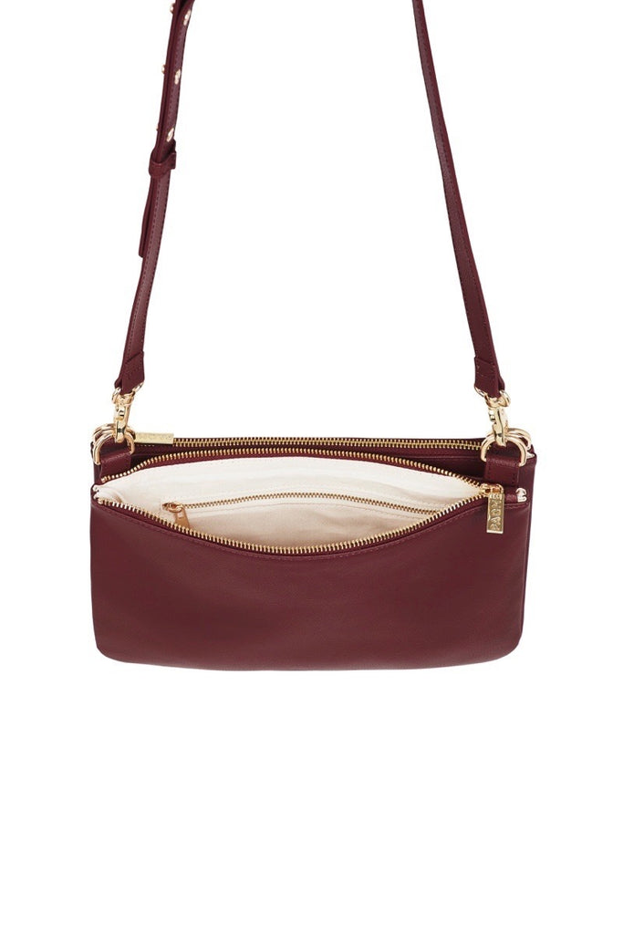 WOMENS FINE LEATHER DUO CROSS BODY BAG IN BURGUNDY