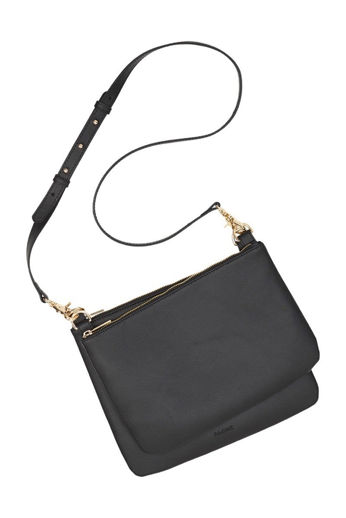 WOMENS FINE LEATHER DUO CROSS BODY BAG IN BLACK