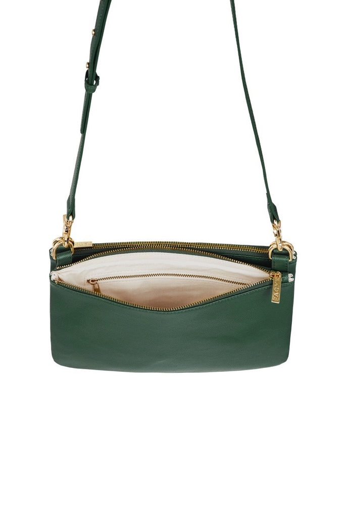 WOMENS FINE LEATHER DUO CROSS BODY BAG IN EMERALD