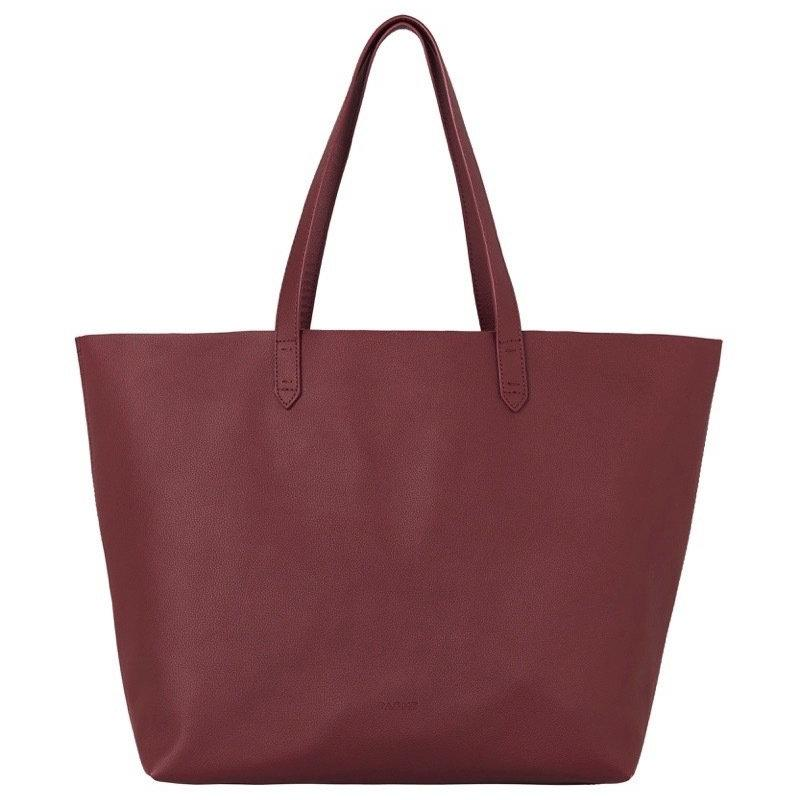 WOMENS FINE LEATHER TOTE IN BURGUNDY