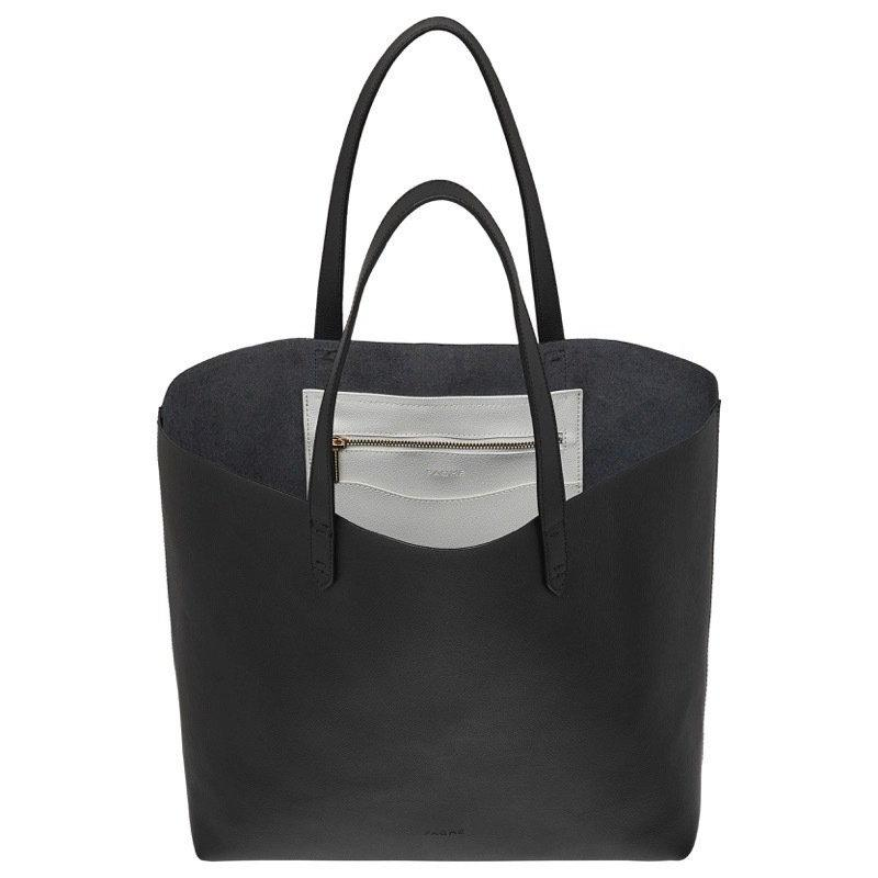 WOMENS FINE LEATHER TOTE IN BLACK