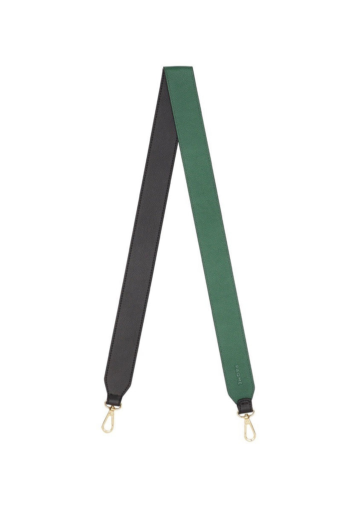 FINE LEATHER BAG STRAP IN BLACK / EMERALD