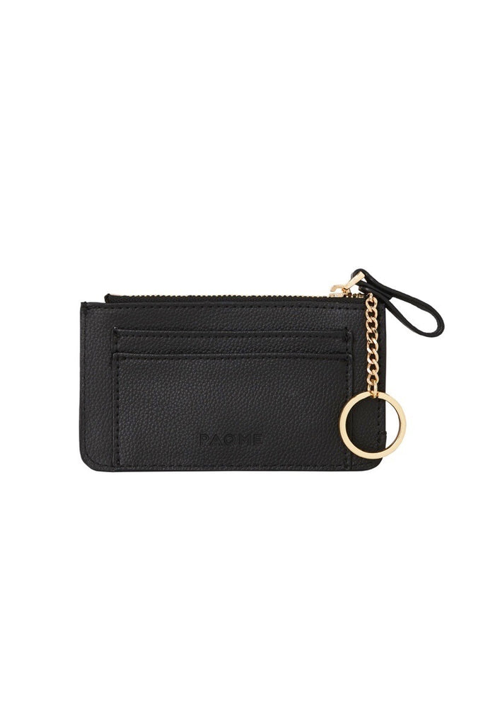 WOMENS FINE LEATHER TRAVEL POUCH IN BLACK