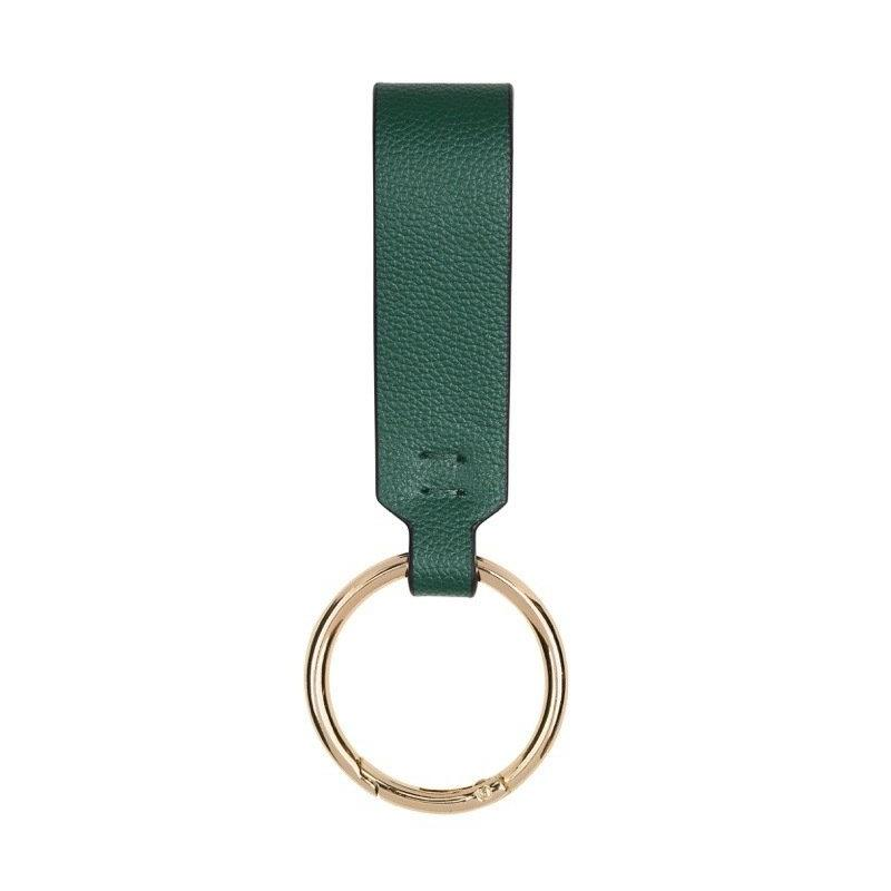 FINE LEATHER KEY RING IN EMERALD