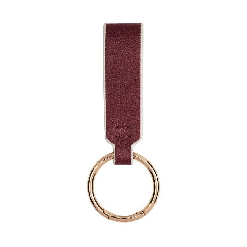 FINE LEATHER KEY RING IN BURGUNDY