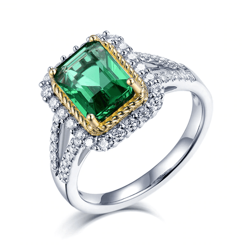 18k two-tone gold emerald double halo ring - medusa jewels