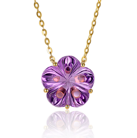 14k yellow gold amethyst pendant - medusa jewels