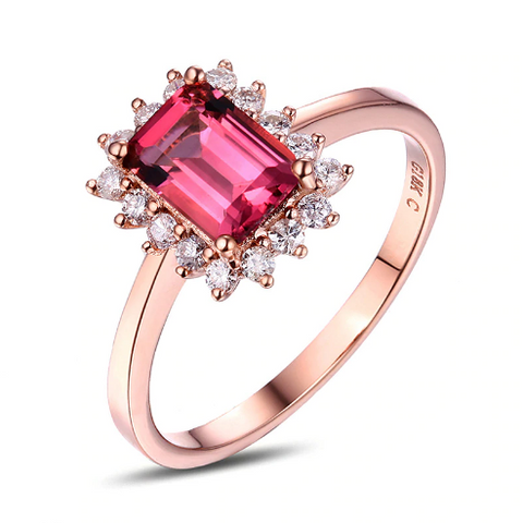 10k Rose Gold 1.06ct Pink Tourmaline & Diamond Ring - medusa jewels