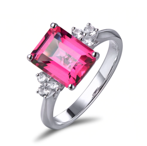 14k white gold pink topaz engagement ring - medusa jewels