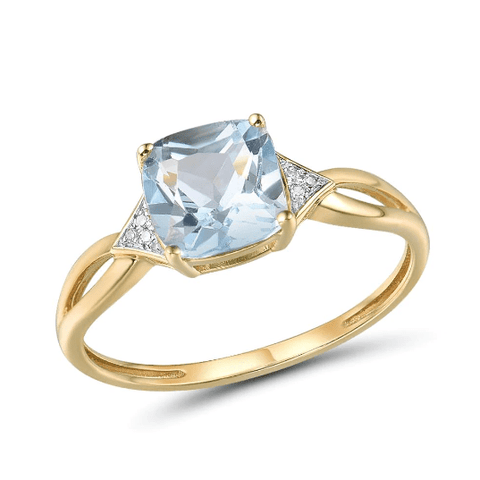 14k yellow gold cushion topaz ring - medusa jewels