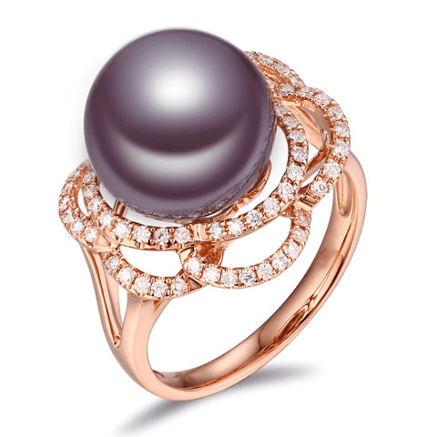 18k rose gold pearl ring - medusa jewels