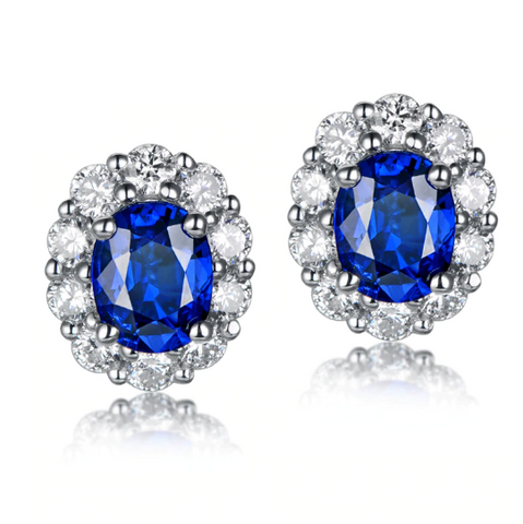 18k white gold oval sapphire diamond halo stud earrings - medusa jewels