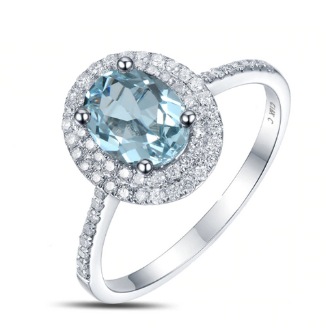 14k white gold oval aquamarine halo engagement ring - medusa jewels