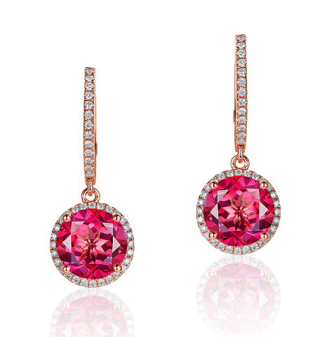 14k rose gold pink topaz halo drop earrings - medusa jewels