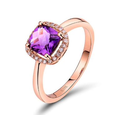 18k rose gold cushion cut amethyst engagement ring - medusa jewels