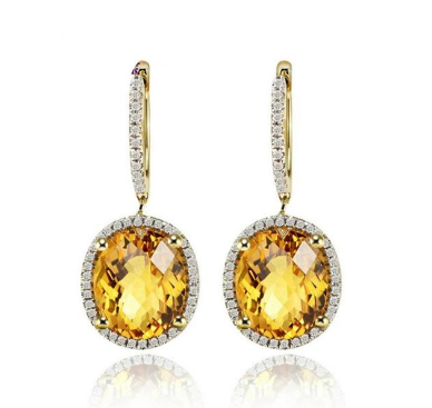 14Kt Yellow Gold Vintage Oval 10x12mm Citrine Earrings