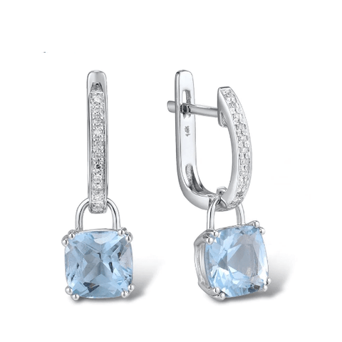 14k white gold topaz drop earrings - medusa jewels