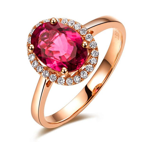 18K ROSE GOLD 1.43CT RUBELLITE RED TOURMALINE & DIAMOND RING - medusa jewels