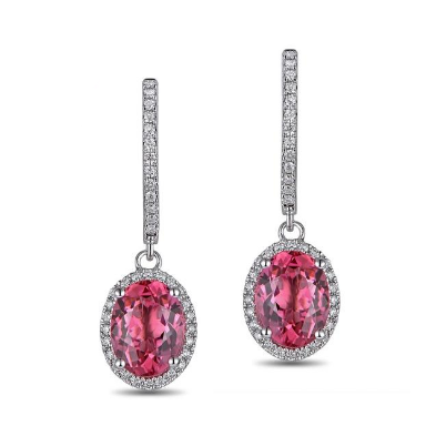 18K White Gold Oval 2.16ct Tourmaline Earrings - medusa jewels