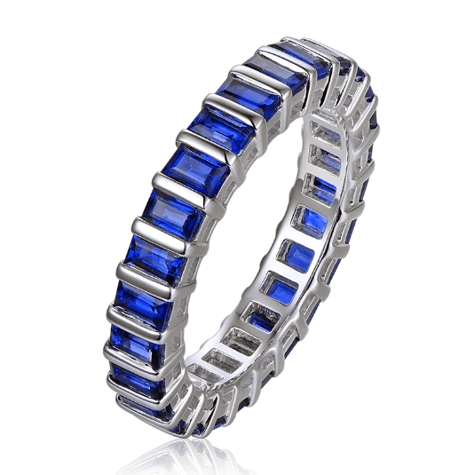 14k White Gold 2.76ct Baguette Cut Blue Sapphire Eternity Band Ring - Medusa Jewels
