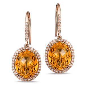 14K Yellow Gold Oval 4.13ct Citrine & Diamond Earrings - Medusa Jewels