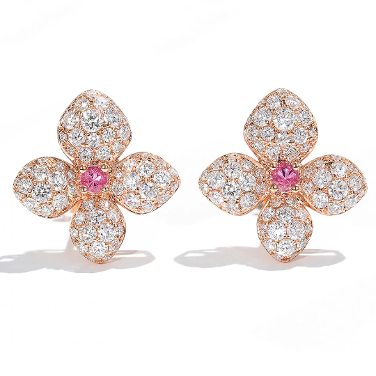 18K White Gold Pink Sapphire & Moissanite Earrings - Medusa Jewels