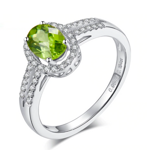 14K White Gold Oval Peridot Ring
